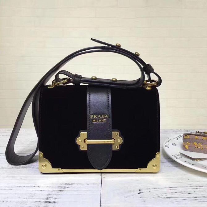 4cd02196f571 Чёрная мини сумка из бархата Prada в modnitca Москва - изображение 1