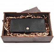 Подарочный набор Люблю: клатч на кнопке мини с обработанными краями + коробка из дерева Глазов