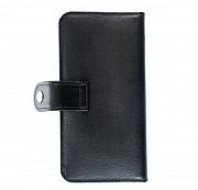 Клатч на кнопке мини комбинированный с обработанными краями Завитки , черный черная вставка Глазов