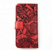 Клатч на кнопке мини с обработанными краями Черные цветы , красный Глазов