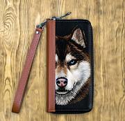 Клатч на молнии комбинированный «Волк с голубыми глазами» Глазов