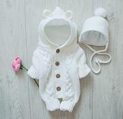 Детский вязаный комплект (комбинезон +шапочка) для детей 0-3 месяца Санкт-Петербург