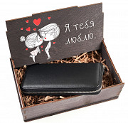 Подарочный набор Я тебя люблю: клатч на молнии большой + коробка из дерева Глазов