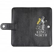 Клатч на кнопке мини с обработанными краями Волк KING, черный Глазов