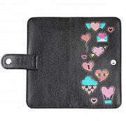 Клатч на кнопке мини с обработанными краями Стикеры сердечки, черный Глазов