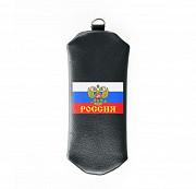 Ключница на молнии Флаг Россия , черная Глазов