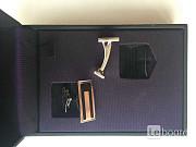 Запонки dupont франция мужские металл под платину белое золото серебро покрытие лак черный аксессуар Москва