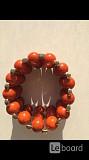 Браслет новый бижутерия оранжевый натуральный камни стразы сваровски swarovski кристаллы металл под Москва