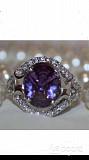 Кольцо новое серебро 19 размер камень аметист фиолетовый сиреневый камни сваровски swarovski кристал Москва