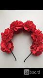 Ободок на волосы в стиле dolce&gabbana красный цветы розы украшение бижутерия аксессуары Москва