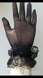Перчатки новые женские черные сетка кружева стретч 42 44 46 м s аксессуары мягкие вечерние оборки ри Москва