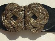 Пояс ремень резинка ткань металл под золото бронзу кожзам 4446 черный аксессуар женский стретч тянет Москва